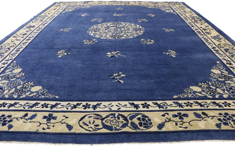 Qing Antique Chinese Peking Rug with Romantic Chinoiserie Style For Sale