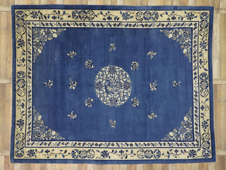 Antique Chinese Peking Rug with Romantic Chinoiserie Style For Sale 1