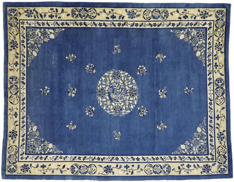 Antique Chinese Peking Rug with Romantic Chinoiserie Style For Sale 2