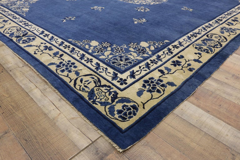 20th Century Antique Chinese Peking Rug with Romantic Chinoiserie Style For Sale