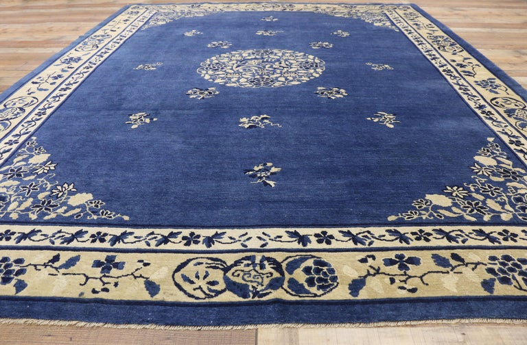 Wool Antique Chinese Peking Rug with Romantic Chinoiserie Style For Sale
