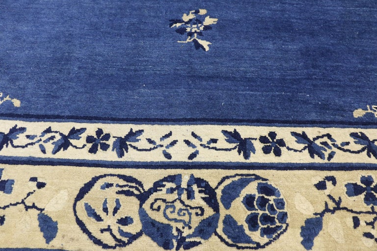 Hand-Knotted Antique Chinese Peking Rug with Romantic Chinoiserie Style For Sale