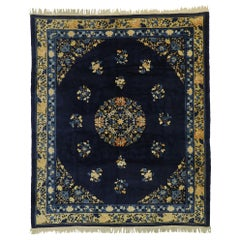 Antique Chinese Peking Rug with Traditional Chinoiserie Style