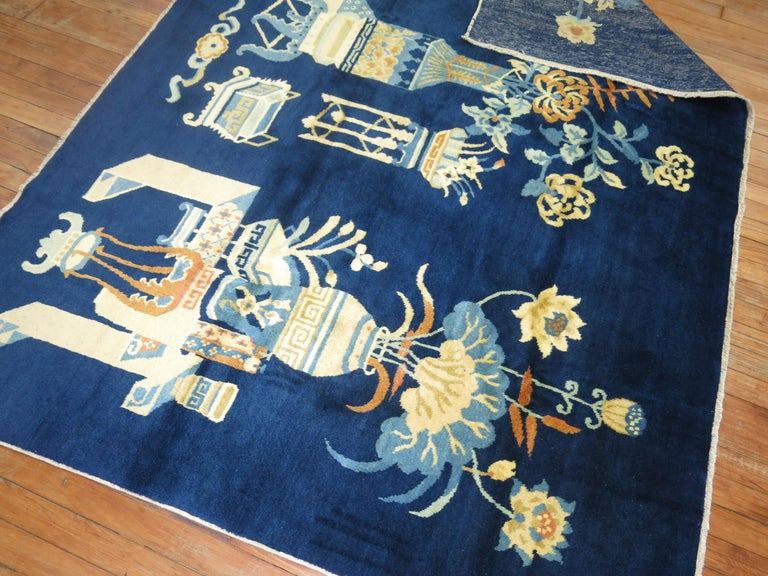 Romantic Antique Chinese Pictographic Rug For Sale