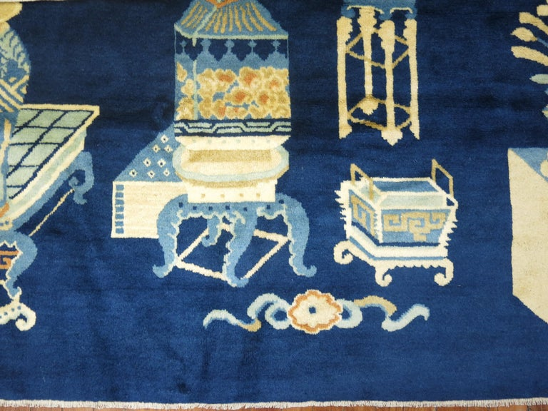 Hand-Woven Antique Chinese Pictographic Rug For Sale