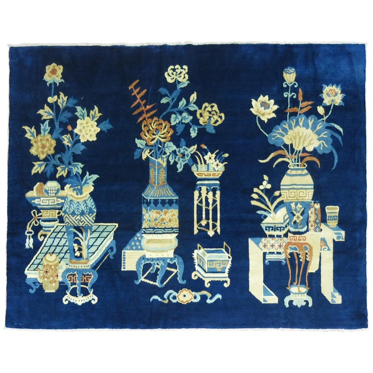 Antique Chinese Pictographic Rug For Sale