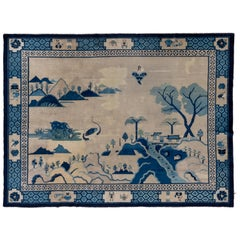 Antique Chinese Pictorial Rug, Landscape Orientation, Blue and Ivory Tones