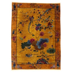 Antique Chinese Pictorial Rug with Art Deco Style
