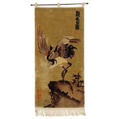 Antique Chinese Pictorial Tapestry with Traditional Crane Design