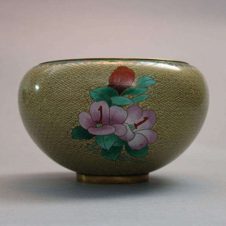 Antique Chinese Polychrome Floral Cloisonné Enameled Bowl, circa 1900 For Sale 5