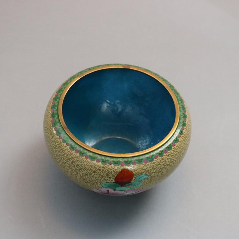 Antique Chinese Polychrome Floral Cloisonné Enameled Bowl, circa 1900 For Sale 6