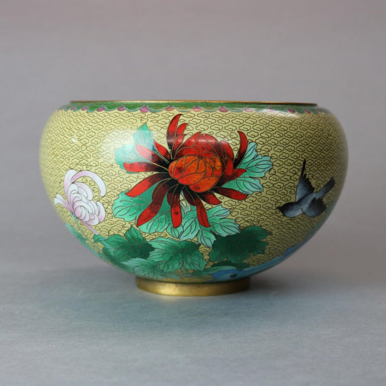20th Century Antique Chinese Polychrome Floral Cloisonné Enameled Bowl, circa 1900 For Sale