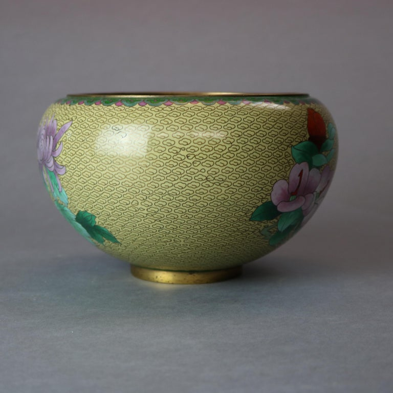 Metal Antique Chinese Polychrome Floral Cloisonné Enameled Bowl, circa 1900 For Sale