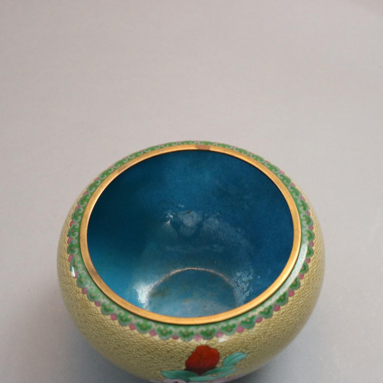Antique Chinese Polychrome Floral Cloisonné Enameled Bowl, circa 1900 For Sale 1