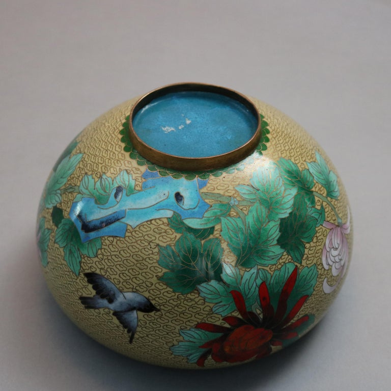 Antique Chinese Polychrome Floral Cloisonné Enameled Bowl, circa 1900 For Sale 2