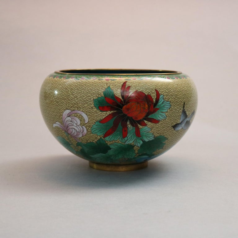 Antique Chinese Polychrome Floral Cloisonné Enameled Bowl, circa 1900 For Sale 3