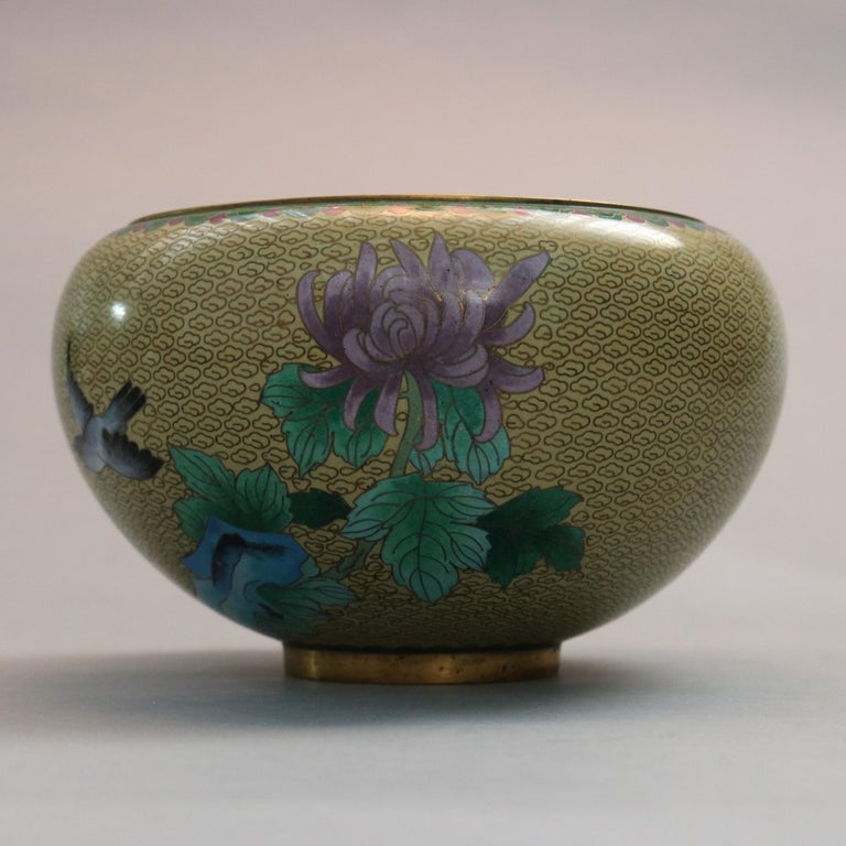 Antique Chinese Polychrome Floral Cloisonné Enameled Bowl, circa 1900 For Sale 4