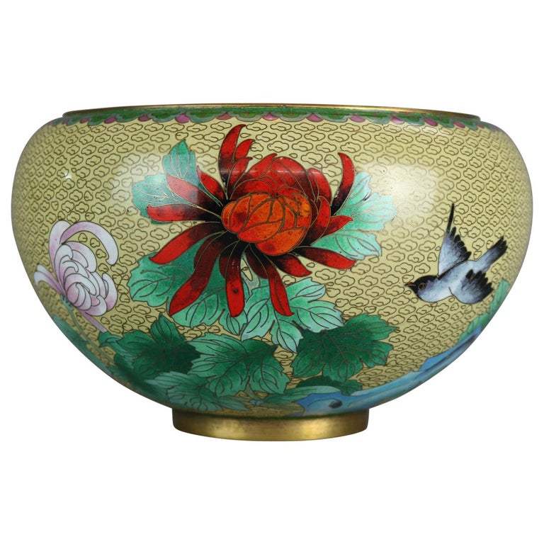 Antique Chinese Polychrome Floral Cloisonné Enameled Bowl, circa 1900 For Sale
