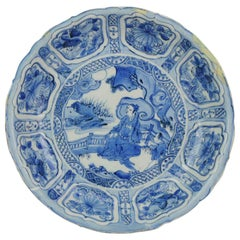 Antique Chinese Porcelain Wanli Kraak porcelain Plate Literatus