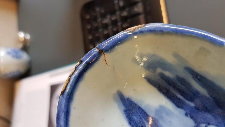 Antique Chinese Porcelain Kosometsuke dish Mount Fuji Horses Deer Mountain For Sale 8