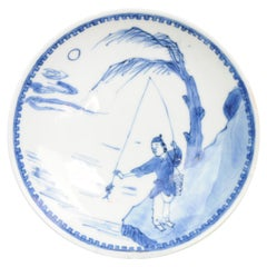 Antique Chinese Porcelain 17th Century Ming Period Porcelain Fisherman
