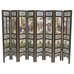 Antique Chinese Porcelain 8 Panel Screen
