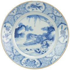 Antique Chinese Porcelain Blue and White Plate Kangxi Fishermen Crabs Fish