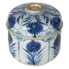 Antique Chinese Porcelain Blue & White Lidded Pot, 18th Century