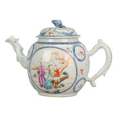 Antique Chinese Porcelain circa 1750 Tea Pot Mandarin Famille Rose