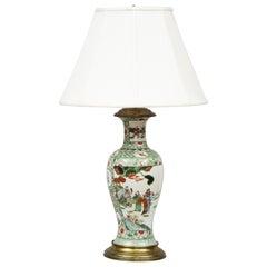 Antique Chinese Porcelain Famille Vert Lamp
