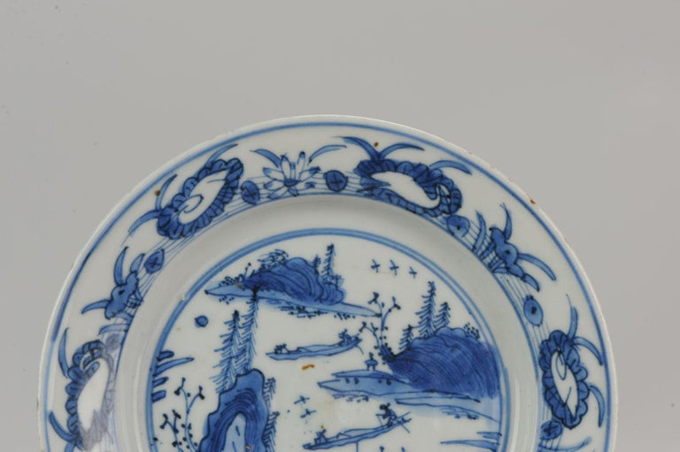 Antique Chinese Porcelain Ming 1540-1580 Jiajing Wanli Landscape Plate with Bird For Sale 6