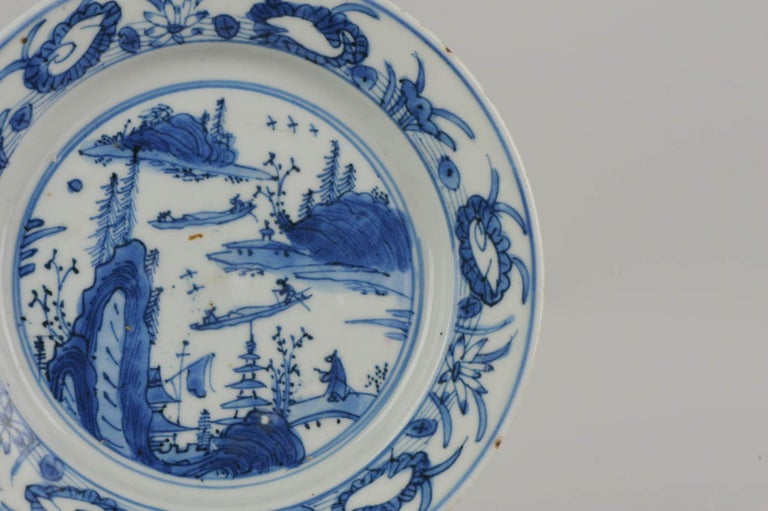 Antique Chinese Porcelain Ming 1540-1580 Jiajing Wanli Landscape Plate with Bird For Sale 7