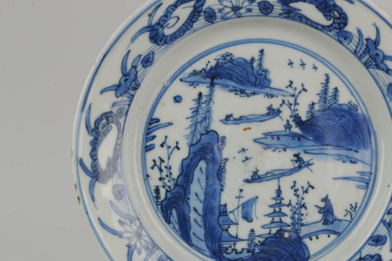Antique Chinese Porcelain Ming 1540-1580 Jiajing Wanli Landscape Plate with Bird For Sale 8