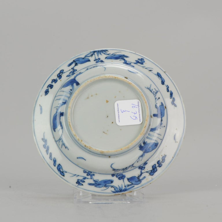 Antique Chinese Porcelain Ming 1540-1580 Jiajing Wanli Landscape Plate with Bird For Sale 1