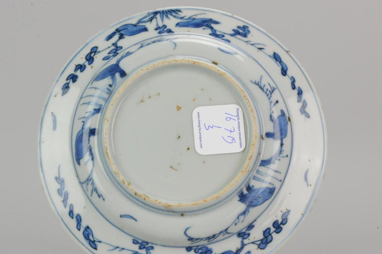 Antique Chinese Porcelain Ming 1540-1580 Jiajing Wanli Landscape Plate with Bird For Sale 3