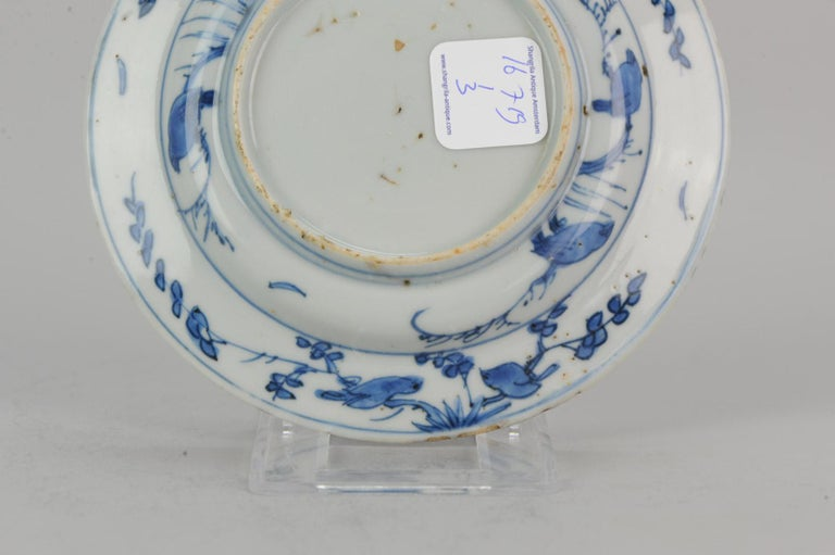 Antique Chinese Porcelain Ming 1540-1580 Jiajing Wanli Landscape Plate with Bird For Sale 4