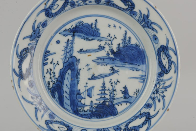 Antique Chinese Porcelain Ming 1540-1580 Jiajing Wanli Landscape Plate with Bird For Sale 5