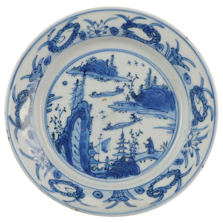 Antique Chinese Porcelain Ming 1540-1580 Jiajing Wanli Landscape Plate with Bird For Sale