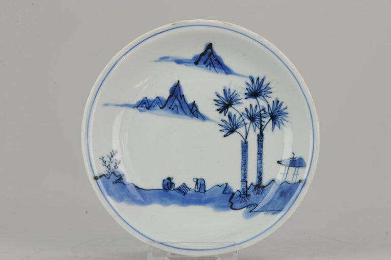 Antique Chinese Porcelain Ming Wanli / Tianqi Playing Go Landscape Plate For Sale 6