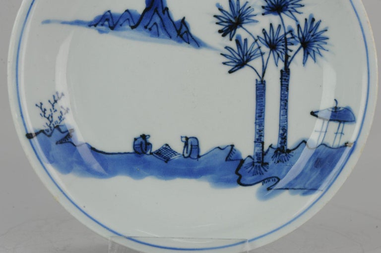 Antique Chinese Porcelain Ming Wanli / Tianqi Playing Go Landscape Plate For Sale 7