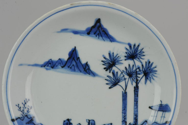 Antique Chinese Porcelain Ming Wanli / Tianqi Playing Go Landscape Plate For Sale 8