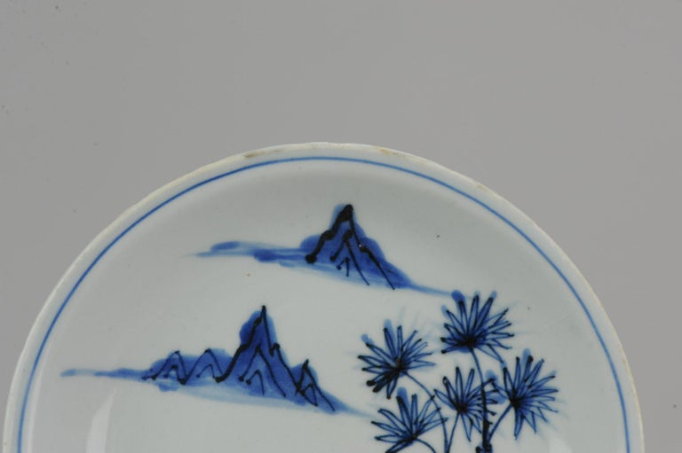 Antique Chinese Porcelain Ming Wanli / Tianqi Playing Go Landscape Plate For Sale 9