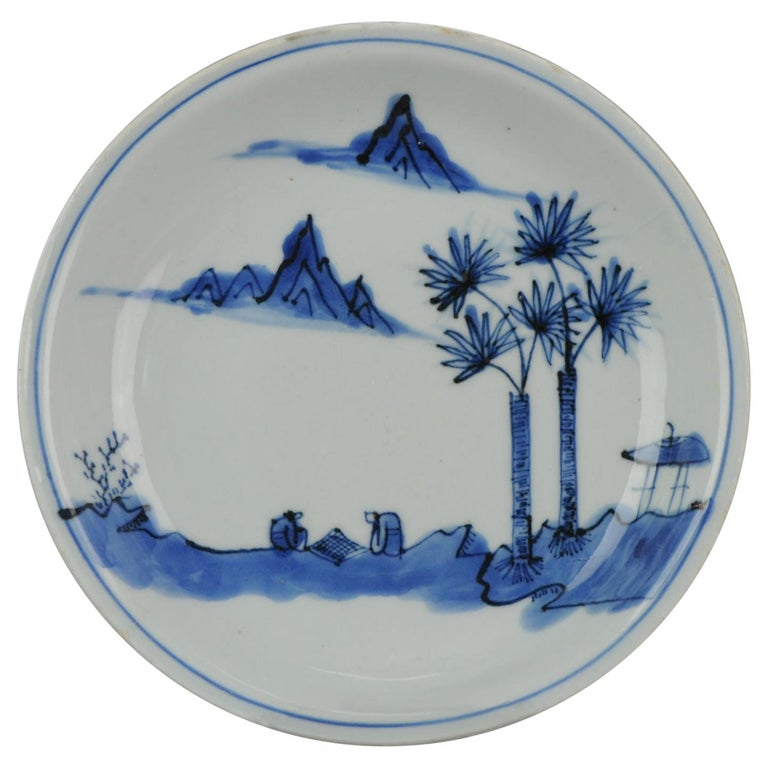 Antique Chinese Porcelain Ming Wanli / Tianqi Playing Go Landscape Plate For Sale