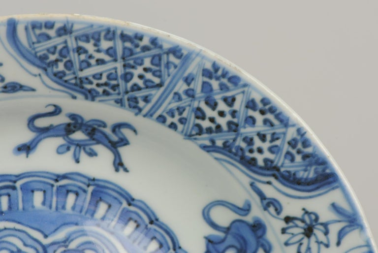 Antique Chinese Porcelain Plate 17th Century Ming Dynasty Wanli Period For Sale 4