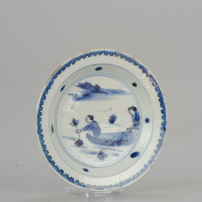 Chinese Porcelain Plate 17th Century Lotus Fishing Ming Dynasty Tianqi/Chongzhen For Sale 8