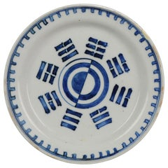 Antique Chinese Porcelain Trigram Dish Late Ming Tianqi or Chongzhen Plate