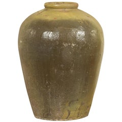 Antique Chinese Primitive Water Jar with Sand Glaze Verdigris Patina