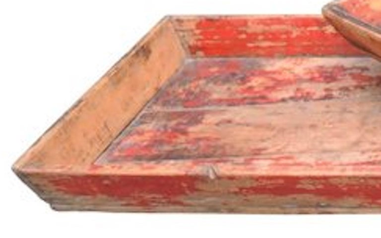 Late 19th Century  Antique Chinese Provincial Wood Trays with Worn Red Paint For Sale