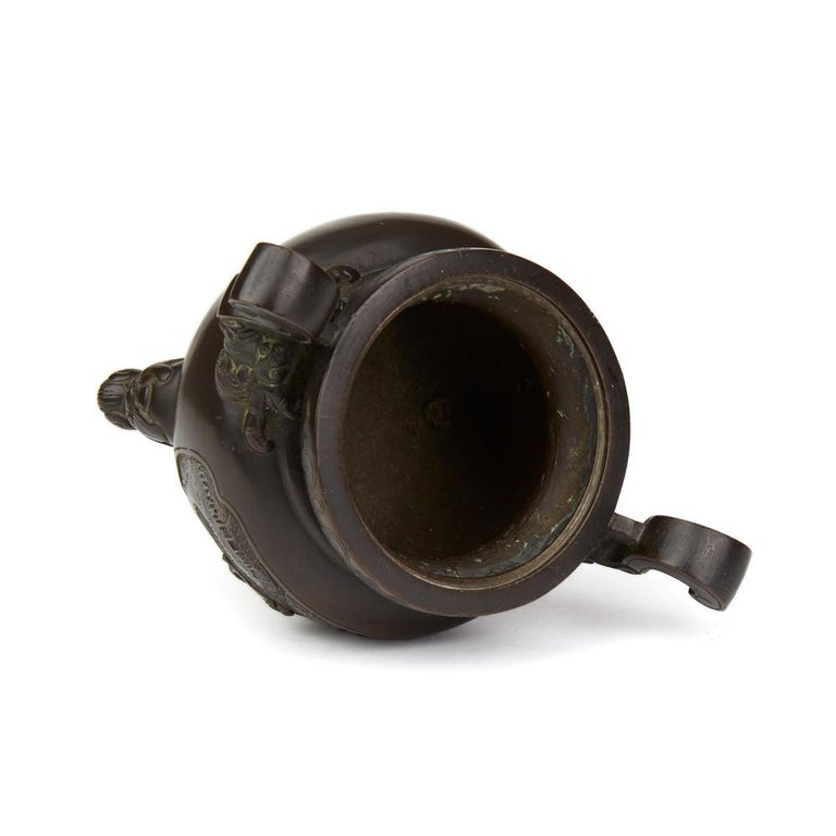 Antique Chinese Qing Bronze Censer and Stand, 19th Century For Sale 3