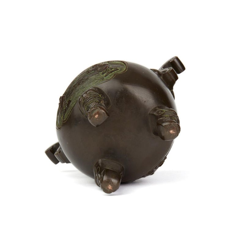 Antique Chinese Qing Bronze Censer and Stand, 19th Century For Sale 4